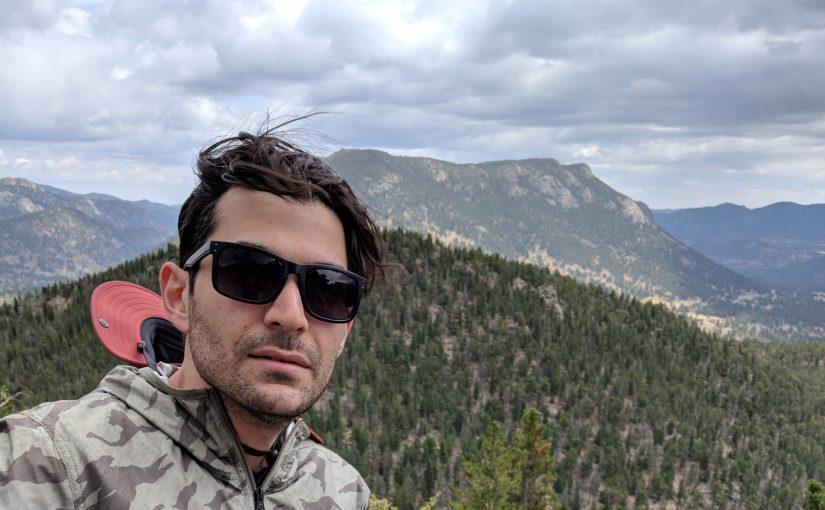 Eaman Jahani hiking in the mountains